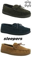 Mens Suede Leather Moccasin Flat Driving Comfort Walk Mocc Padded Slippers Shoe
