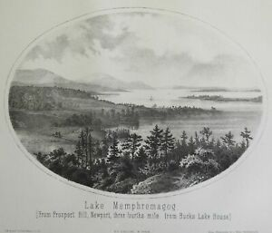 Lake Memphremagog Newport Vermont 1861 Walling rare lithographed view print