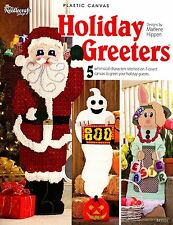 Plastic Canvas Pattern Book Holiday Greeters Santa Ghost Turkey Bunny whimsical