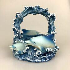 Dolphin Waves Trinket Basket Collector Resin Cast Porpoise Pod Waves Ocean Water