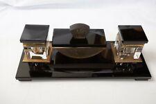 Black & Clear Glass Art Deco Ink Well & Pen Rest (O3R) Blotter