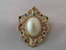 Vintage Beautiful Large Unsigned Gold Tone With Multi-Color Rhinestones Brooch
