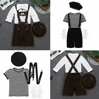 Children Boys Girls Halloween Cosplay Fancy Dress Up Mime Artist Costume Outfit