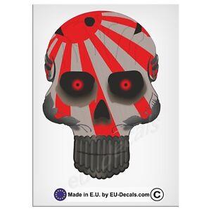 "120mm-4.7"" Robohead skull Japan Rising sun flag red eyes Laminated Decal Sticker"