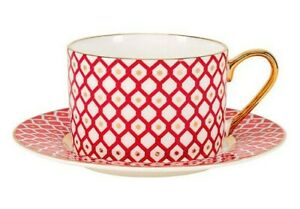 Scarlett Teacup & Saucer by Imperial Porcelain Lomonosov LFZ Fine Russian China