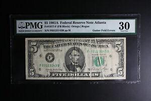 1981A $5 Dollar Bill Dual Gutter Fold Error PMG VF30.  LOOK***