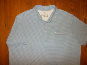 TOMMY BAHAMA SHORT SLEEVE BLUE STRIPED POLO SHIRT MENS XXL EXCELLENT CONDITION
