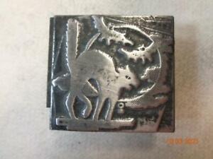 Printing Letterpress Printer Block Antique Halloween Bats & Scared Cat Print Cut