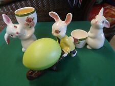 Great Collectible Avon Set of 2 Rabbit Candle Holders & Free Rabbit Pushcart