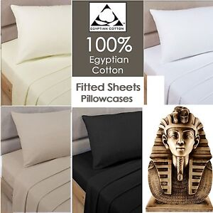 400 THREAD COUNT 100% EGYPTIAN COTTON FITTED SHEET SINGLE DOUBLE KING SUPER KI