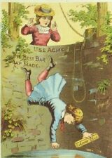 1880's-90's Acme Bar Soap Willie Falling In Well Girl Scared P110