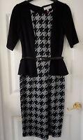 M&S Per Una Black/Grey Dogtooth Peplum Bodycon Dress with Belt, SZ 8, BNWT