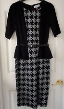 M&S Per Una Black/Grey Dogtooth Peplum Bodycon Dress with Belt, SZ 14, BNWT