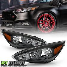 2015-2018 Ford Focus Black Headlights Headlamps Left+Right 15 16 17 18 Lights