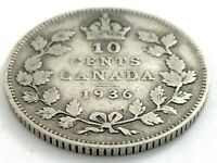 1936 Canada 10 Ten Cent Silver Dime Canadian Circulated George V Coin L509