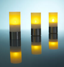 LOT 3 BOUGIES DECORATIVES LUMINEUSES A LED - SUPPORTS ET PILES INCLUS
