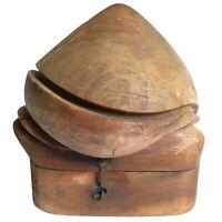 Empire Hat Block Wood Hooks Millinery Puzzle 5 Part Mold Form Vtg Antique