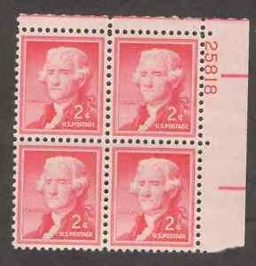 US. 1033. 2c. Thomas Jefferson, Liberty Issue. PB4 #25818 UR. MNH. 1954