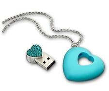 New Swarovski 4GB USB Heart, Blue Zircon Necklace Key 1116972