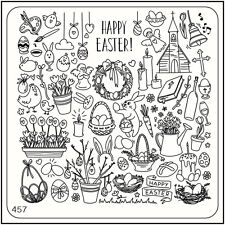 MoYou Nail Fashion Stamping Nail Art Image Plate 457 Easter Style Eggs Bunny