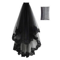 Halloween Women Black Lace Veil Tulle Bridal Cosplay Wedding Decor With Comb US