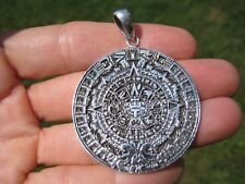 925 Sterling Silver Maya Mayan Calendar Mexico Pendant Necklace A40