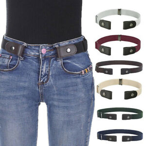 Womens Mens Buckle-free Elastic Invisible Waist Belt for Jeans Pants Trousers