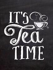 It's Tea Time Sign/Plaque Metal Door Sign Home Kitchen Food Cooking