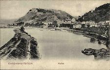 Koblenz Ehrenbreitstein alte Ansichtskarte ~1910 Blick in den Hafen Burg Boote