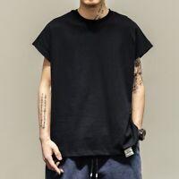 Mens sleeveless summer shirts Retro Hip-hop loose fit street style T-shirts chic