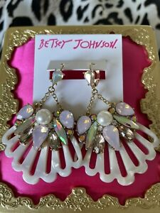 Betsey Johnson Surfmaid Embellished Shell Pink Crystal Pearl Scallop Earrings