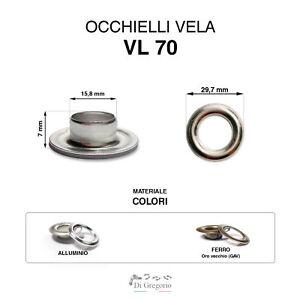 Occhielli vela VL70 Ø 29,7mm alluminio o ferro 100pz anelli metallo
