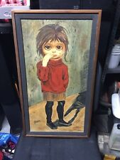 Signed Oil Painting Art Spooky Big Eye Girl Crying Original Frame Signed J Faler