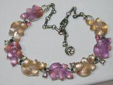 """Vintage LISNER Pink Jelly Lucite Oak Leaf Silver tone 16"""" Choker Necklace 9g 48"""
