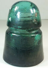 Brookfield B Beehive Teal Blue-Green Glass Insulator