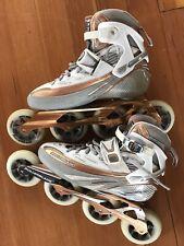 RollerBlade SpeedMachine 8.0 W Womens Inline Race Skate Size 9.5 Silver/Bronze