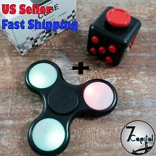 LED Black Light Up Hand Tri-Fidget Spinner And Fidget Cube Kid Toy Autism Stress