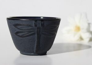 Dark Blue Dragonfly Japanese Cast Iron Tea Cup