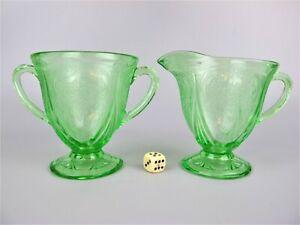 1920 Art Deco vintage green Uranium Vaseline glass Milk Jug Creamer & Sugar Bowl