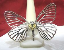 LAGOS 925 STERLING SILVER 750 18K GOLD CAVIAR COLLECTION BUTTERFLY PIN BROOCH