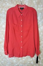 Foxcroft Fitted Red & White Pin Dot Shirt Blouse 18W NWT