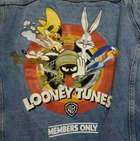 Members Only Mens XL Looney Tunes Denim Jacket Bugs Bunny Road Runner NWT 90's