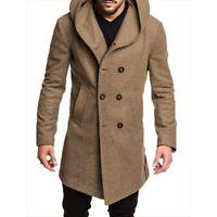 Mens coat autumn winter Fashion mens long trench coat Cotton Casual woollen Coat