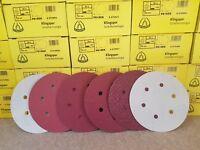 150mm Sanding Discs / Sandpaper KLINGSPOR 6'' Orbital Sander HookNLoop - 6 Hole