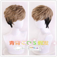Anime Killing Stalking Oh Sangwoo Wig Mixed Brown Black Hair Track +Cap Cosplay