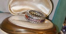 Ross Simons sterling silver wide multi gemstone rainbow of colors eternity ring