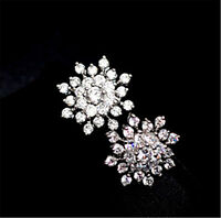 Cute silver colour snowflake stud earrings with crystal