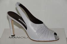 NUEVO MANOLO BLAHNIK Liberta Gris Nappa Zapatos destalonados Sandalias de tacón