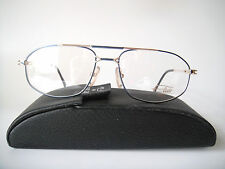 Flair Titanium Germany Large 56-17 Eyeglass  Frames Specs Mens Gold/Blue Glasses