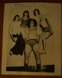 VINTAGE ANDRE THE GIANT 8X10 SIGNED BY BACKLUND, DIBIASE & DUGGAN JSA WWE WWF